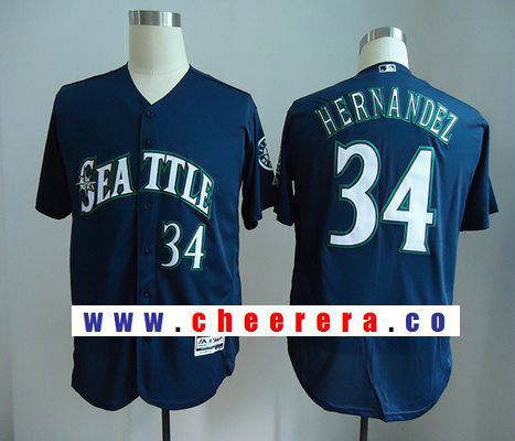 Men's Seattle Mariners #34 Felix Hernandez Navy Blue Stitched MLB Majestic Flex Base Jersey