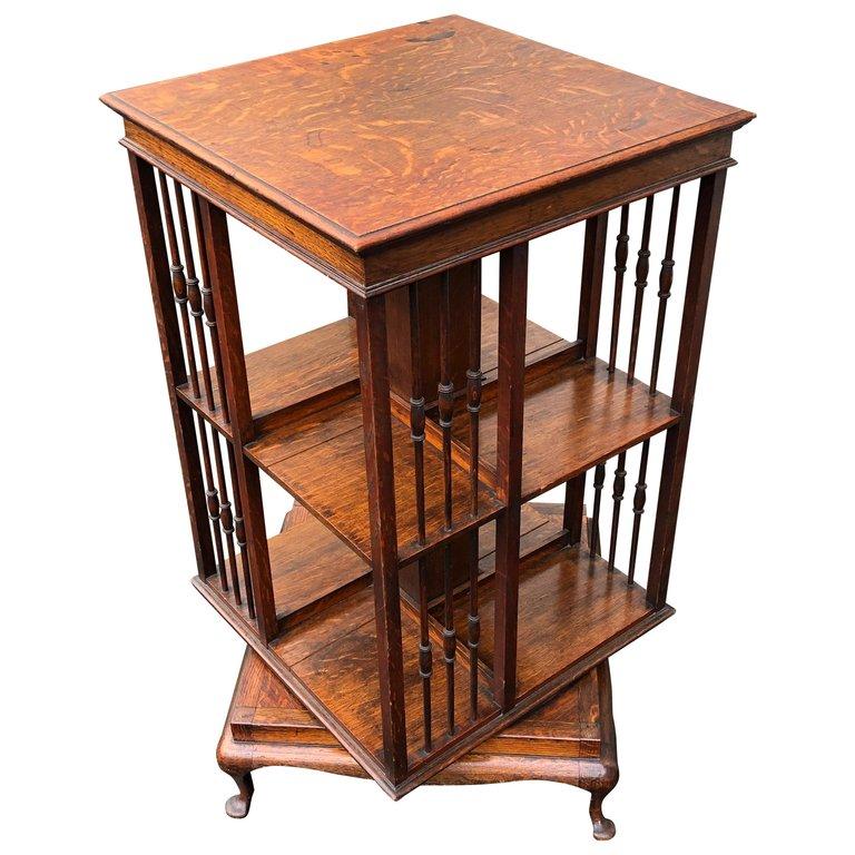 Edwardian Quartersawn Oak Revolving Bookcase Circa 1910