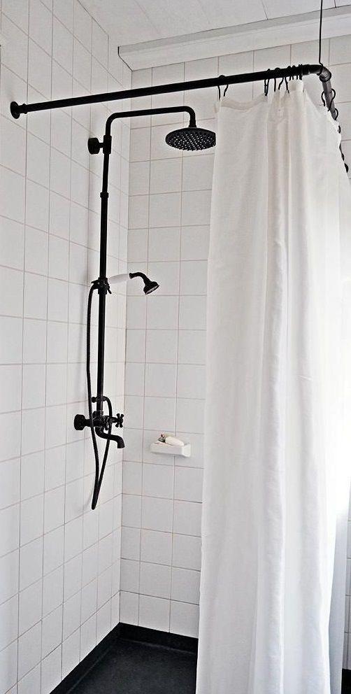 Shower Hardware Curtain Rod Black Shower Curtains Corner