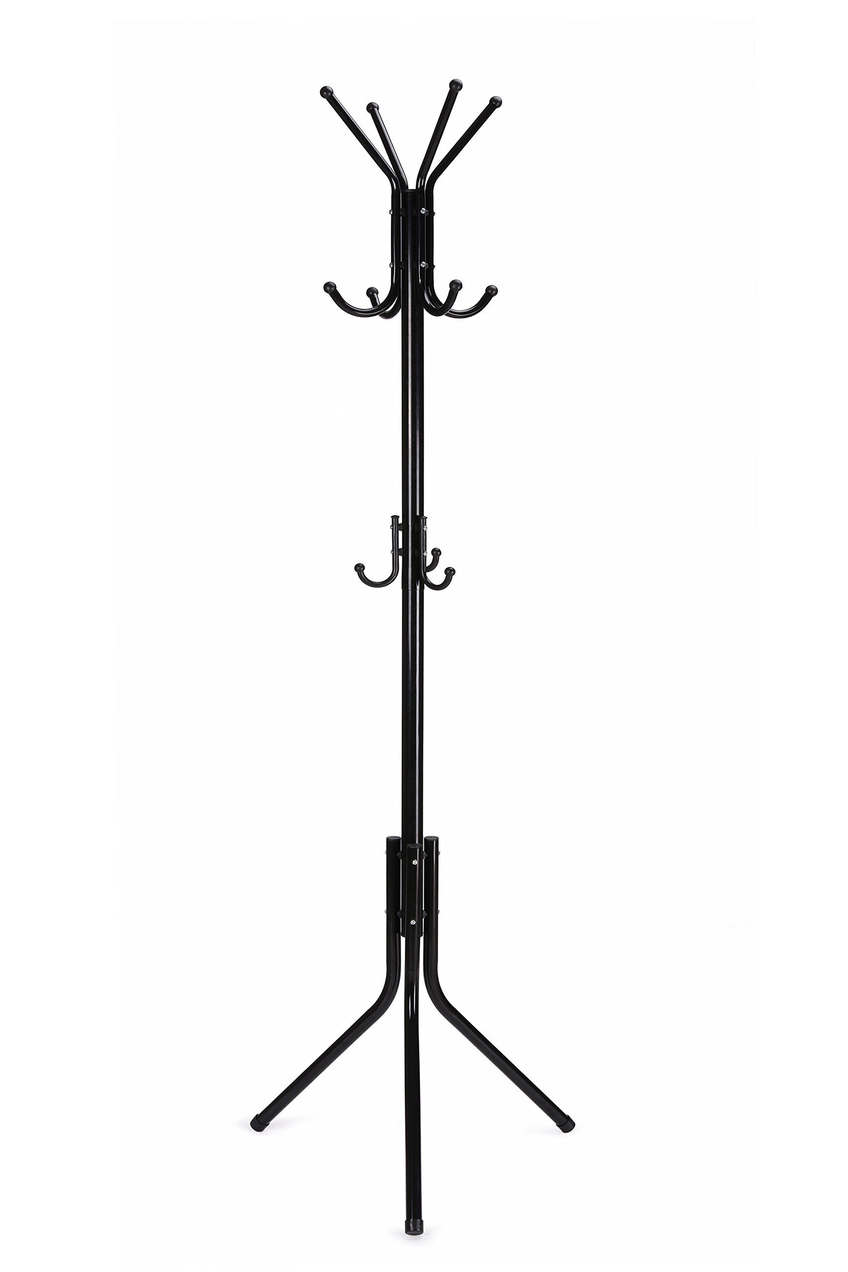 Wilshine Coat Rack Standing Coat Tree Metal Black With 11 Hooks Sturdy Diameter Expanded Main Pole And Tripod Legs Make This Standing Coat Rack Able To Bear