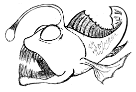 Image Result For Angler Fish Coloring Page Fish Drawings Fish Sketch Fish Coloring Page