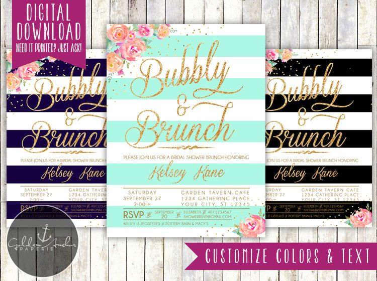 Floral Gold Glitter Confetti Stripe Bridal Shower Invitation, Confetti Glitter Shower Invite, Navy, Mint, Black - Printable DIY by GoldenAnchorPaperie on Etsy
