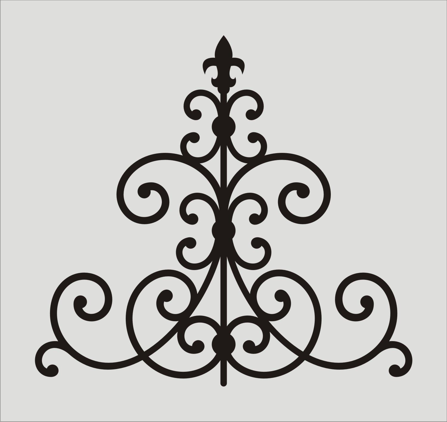 Wrought iron fleur de lis stencil 10 wall stencil damask wrought iron fleur de lis stencil wall stencil damask flourish scroll image is 8 x inches amipublicfo Image collections