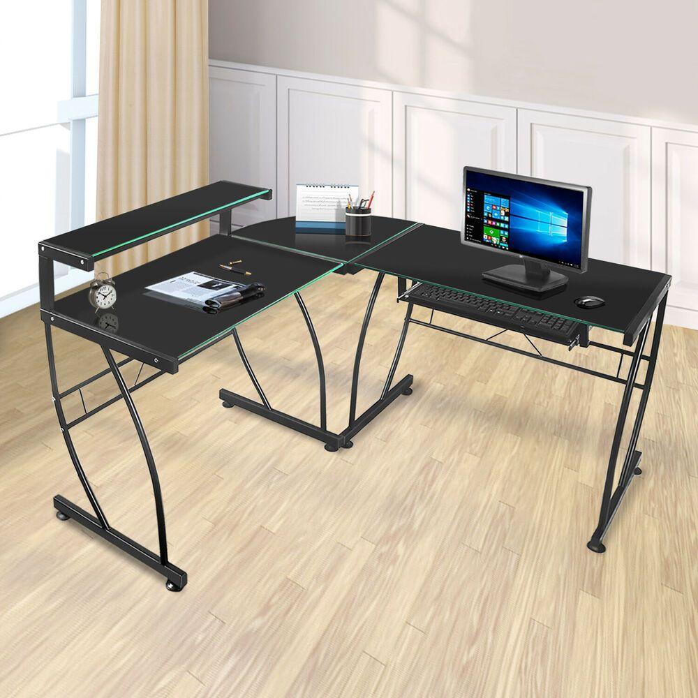 Office Deskorganization: Black Glass L-Shaped Corner Computer Desk Home Office