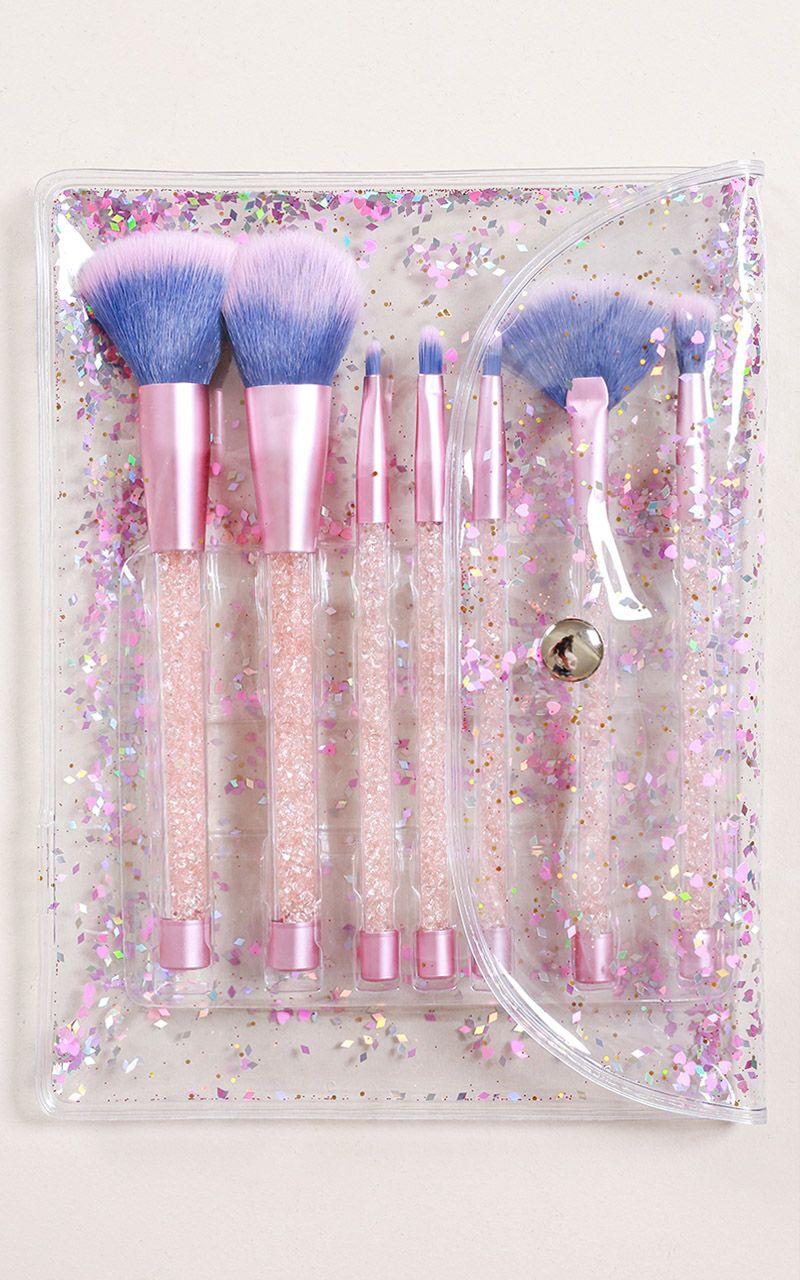 Crystal Glitter Makeup Brush Set in light amethyst 7 PC