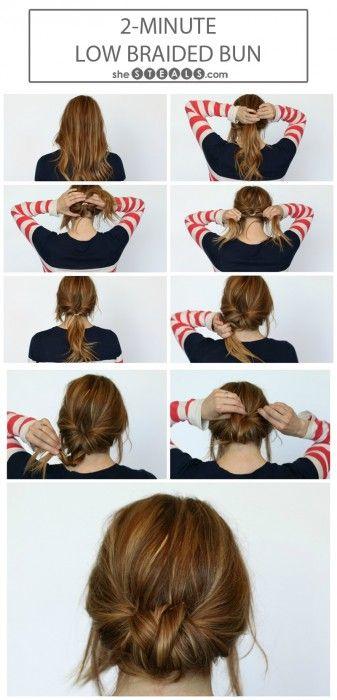 Diy 2 Minute Low Braided Bun Tutorial Summer Hair Buns Hair Styles Hair Bun Tutorial