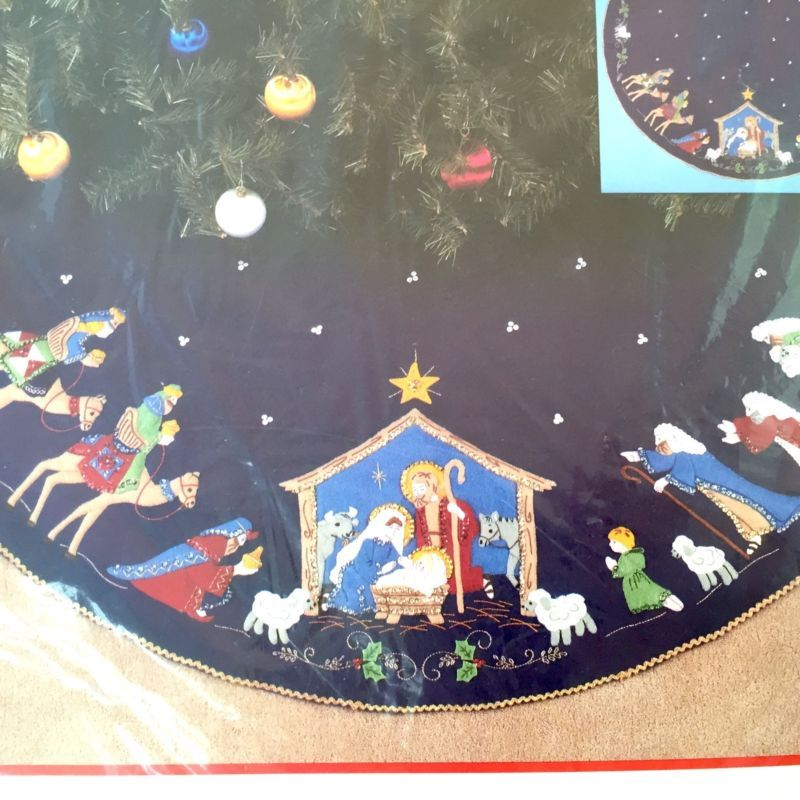 Nativity Tree Skirt Kit Bucilla Embroidery 43 Felt Christmas Manger Jesus 82720 Christmas Manger Felt Christmas Vintage Christmas Photos