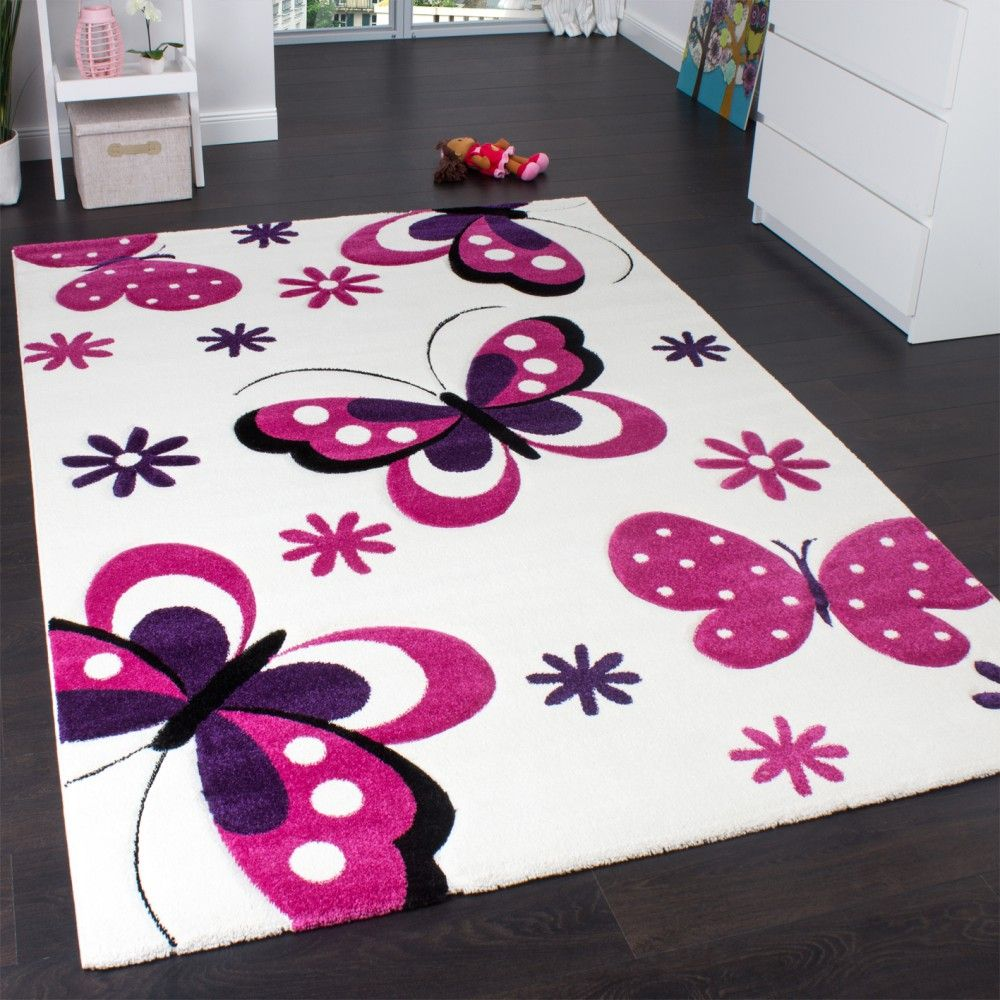 Schmetterling Teppich Orange Grau Creme Kinderzimmer Teppich Butterfly Design