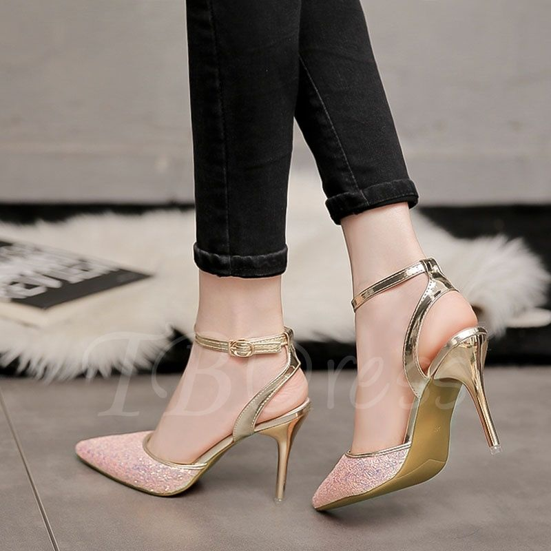 Ladies Sandals Slippers Womens Sequins Pointed Shoes High Heel Casual Fashion
