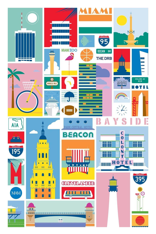 Miami Illustrated 24x36 Poster Miami Art Deco Art Deco Colors