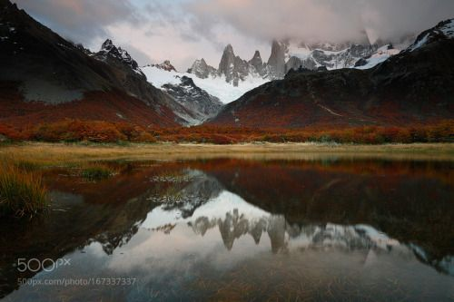 Beyond my wildest dreams by FredBucheton  autumn landscape sunrise lake mountains reflection clouds tree fall patagonia national park argentin