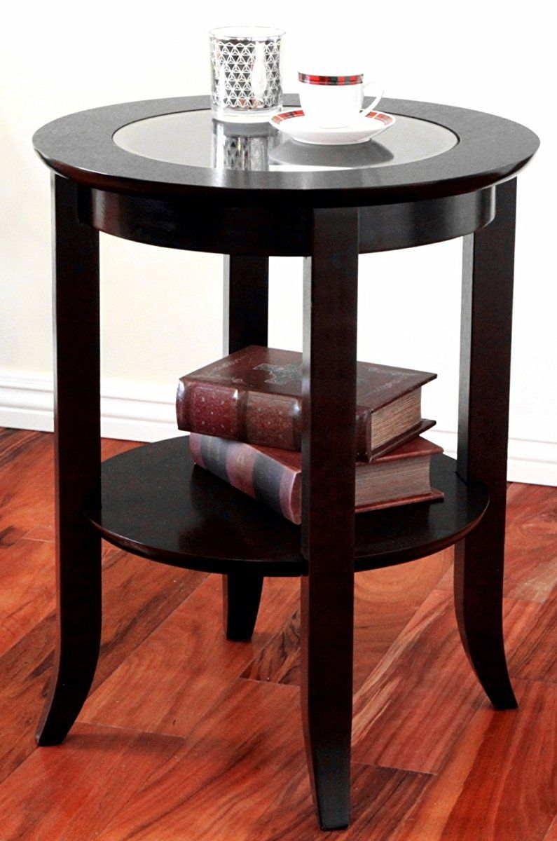 Frenchi Furniture Wood Genoa End Table Round Side Accent Table Inset Glass Espresso End Tables Winsome Wood Glass Top End Tables