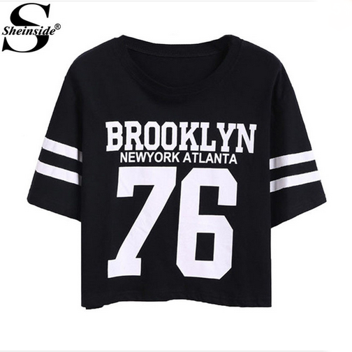 Sheinside Summer Simple Cropped Tops 2016 Female Top Brand Casual Round Neck Short Sleeve Letters Print Crop T-Shirt