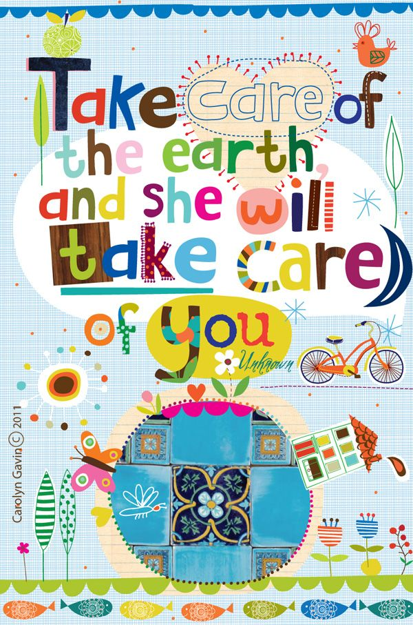 Take Care Of The Earth Inspirational Save The World Typography Poster Print
