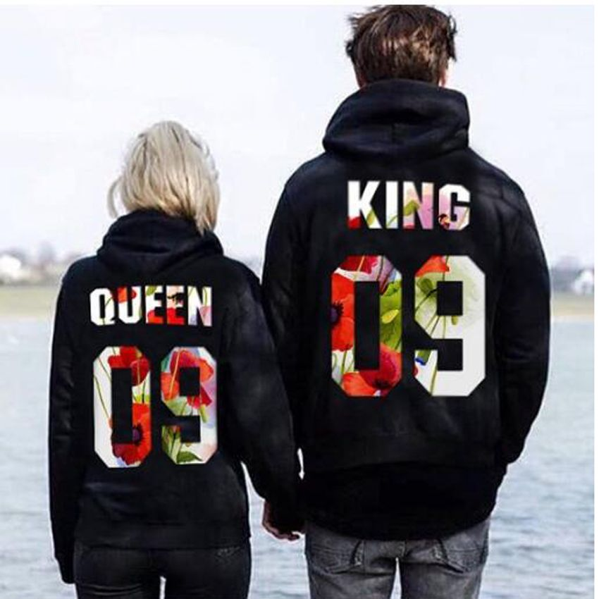 365 Printing King and Queen Crown Couple Hoodies Cute Matching Outfit for Couples