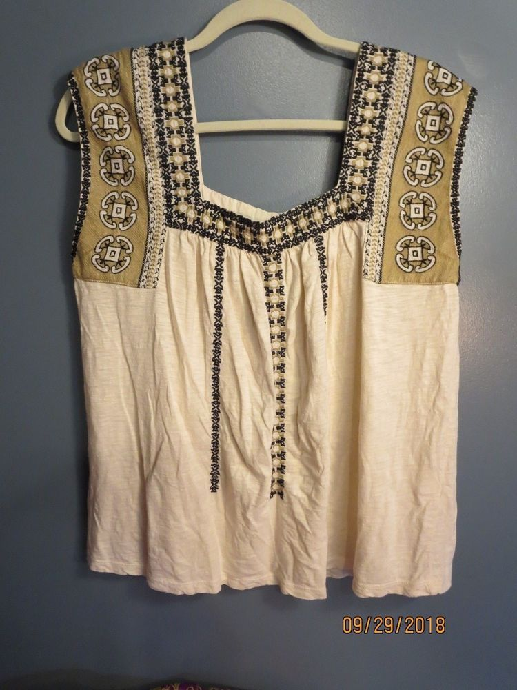 adce6775c33a1 Lucky brand M womens Tank Top Boho Embroidered Ivory Tribal Shirt  fashion   clothing  shoes  accessories  womensclothing  tops (ebay link)