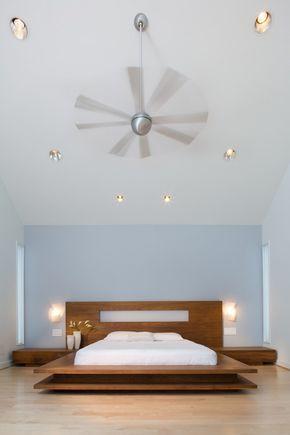 muro bajo cama de plataforma dormitorio minimalista apliques pisos ...