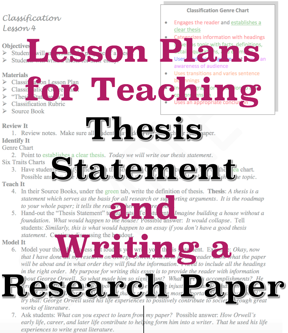 Sample lesson plans for teaching thesis statement and how