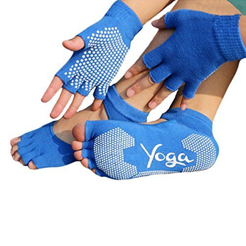Yoga Pilates Socks and Gloves Set Cotton and Non Slip Blue -- You can find out more details at the link of the image.  This link participates in Amazon Service LLC Associates Program, a program designed to let participant earn advertising fees by advertising and linking to Amazon.com.