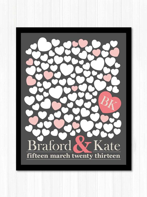 Personalized Wedding Guestbook Alternative Sign Poster 120 Hearts