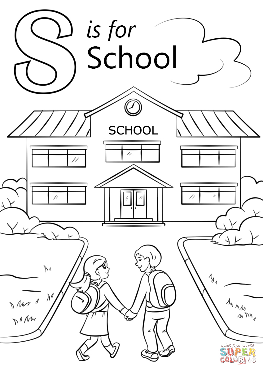 Letter S Is For School Coloring Page