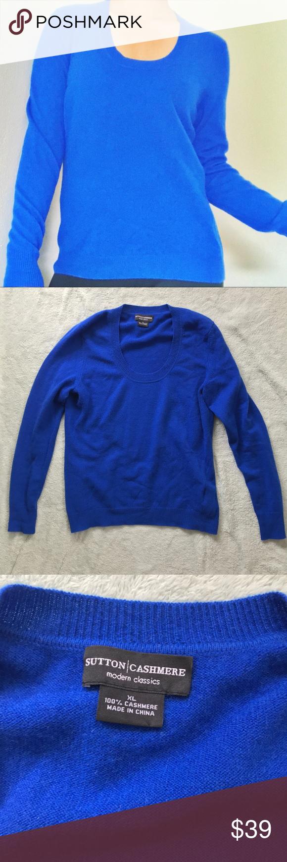Royal blue n yellow dress  Sutton Cashmere Cobalt Blue Crewneck Sweater  Crewneck sweaters
