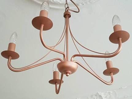 Kronleuchter Hänge-leuchte Lampe Kupfer Rosegold Industrie in ...