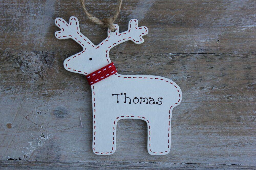 Personalised Wooden Christmas Tree Decoration Reindeer
