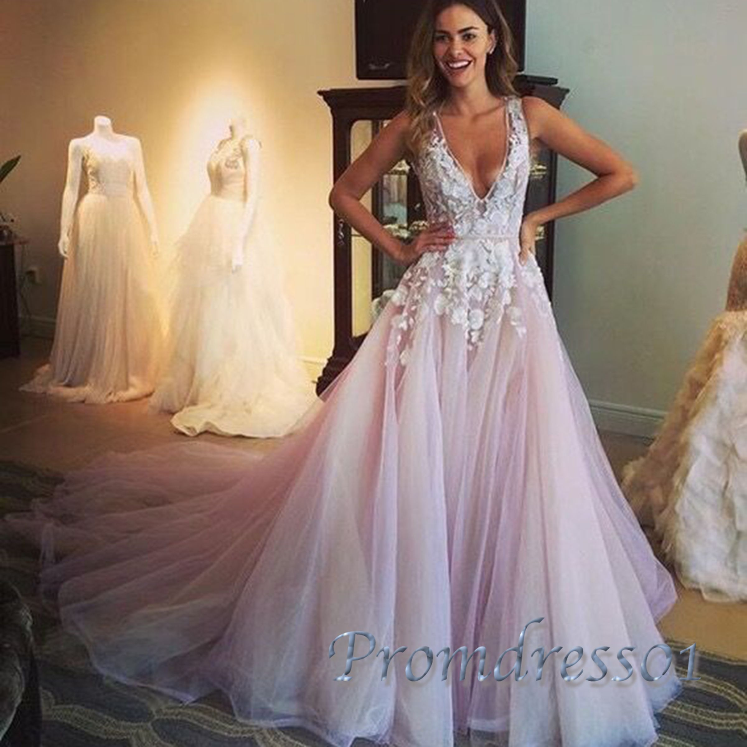 2016 cute deep-v lace appliqued pink tulle sweep train Prom Dress ...