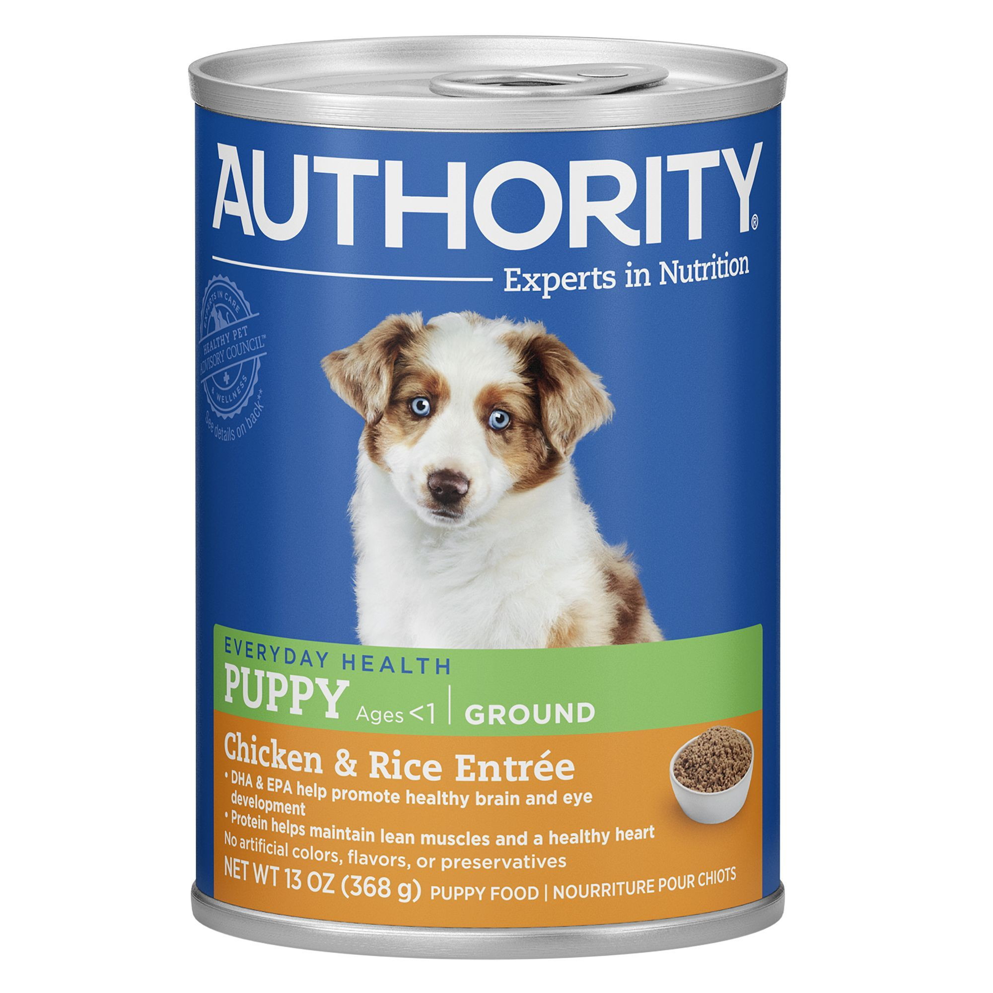 Authority Ground Entree Wet Puppy Food size 13 Oz, ash