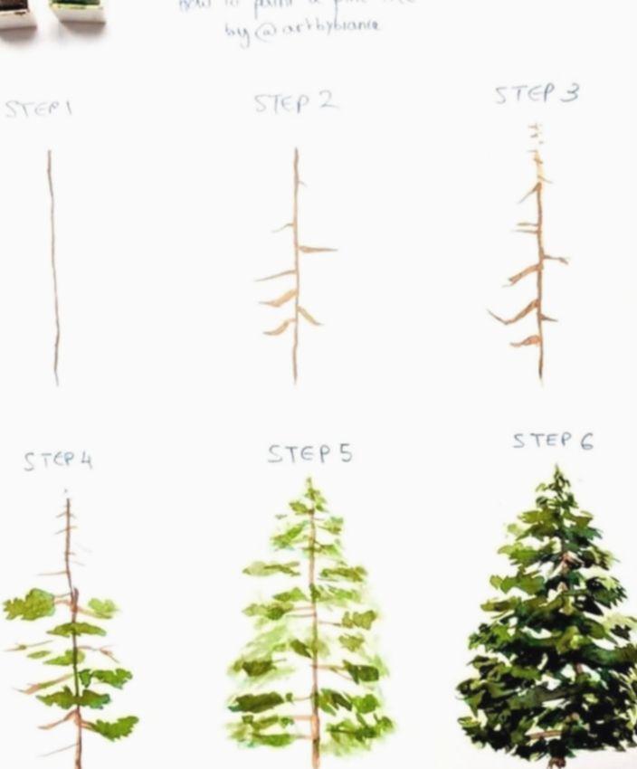 15 Drawing Hand Video Waving Watercolor Christmas Tree Christmas Watercolor Watercolor Trees