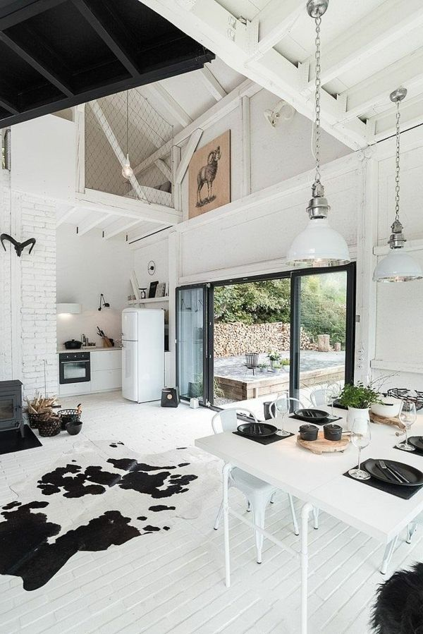 Eleganter Teppich Kuhfell Weißer Boden