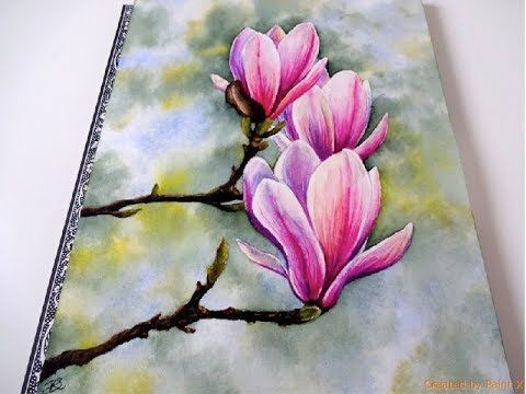 Watercolor Magnolia Painting Tutorial Youtube Watercolor Flowers Tutorial Flower Drawing Flower Painting