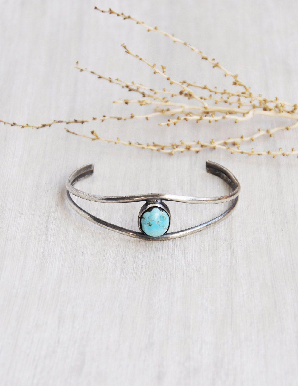 Retro Turquoise Silver Chain Bracelet Handmade Fashion Cuff Bracelet Jewelry