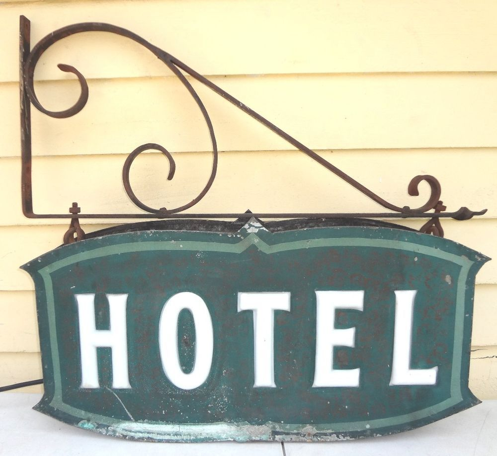"Vintage 1930s Art Deco Metal Electric Box Sign ""HOTEL"" w/ Cast Iron ..."