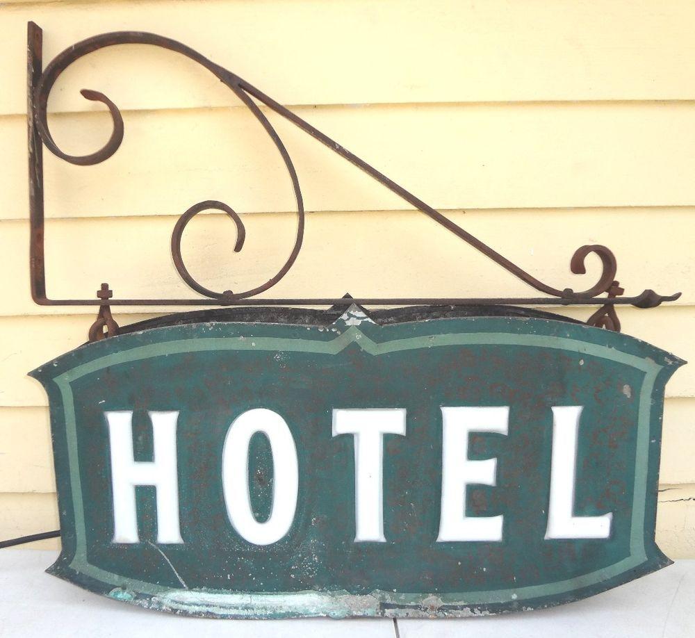 "Vintage 1930s Art Deco Metal Electric Box Sign ""HOTEL"" w/ Cast Iron ..."