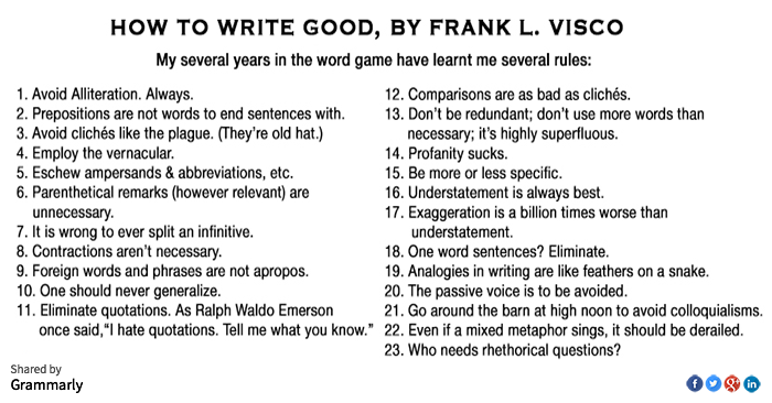 001 How to Write Good by Frank Visco funny reminder that