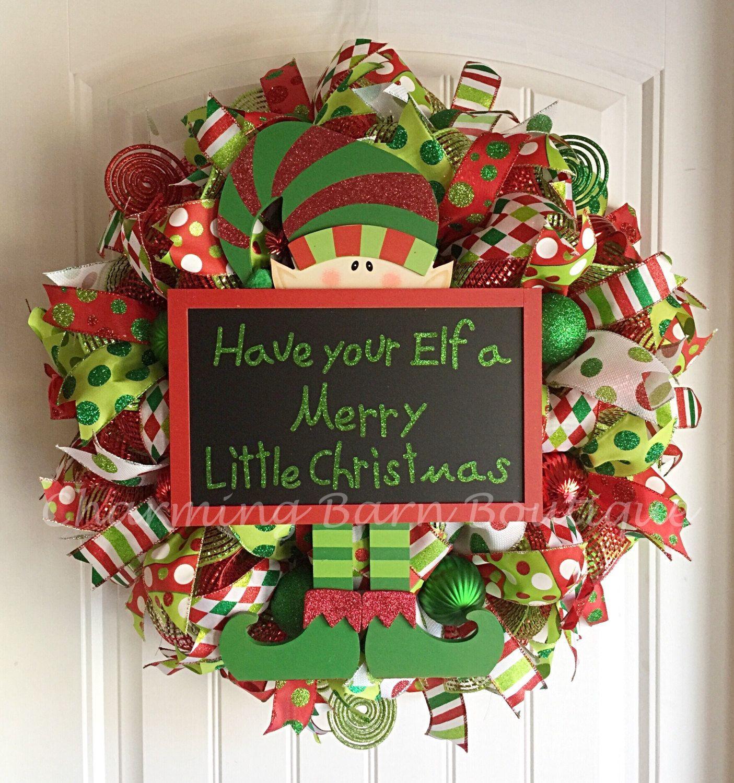 christmas wreath elf wreath have your elf a merry little christmas holiday wreath christmas mesh wreathsdeco
