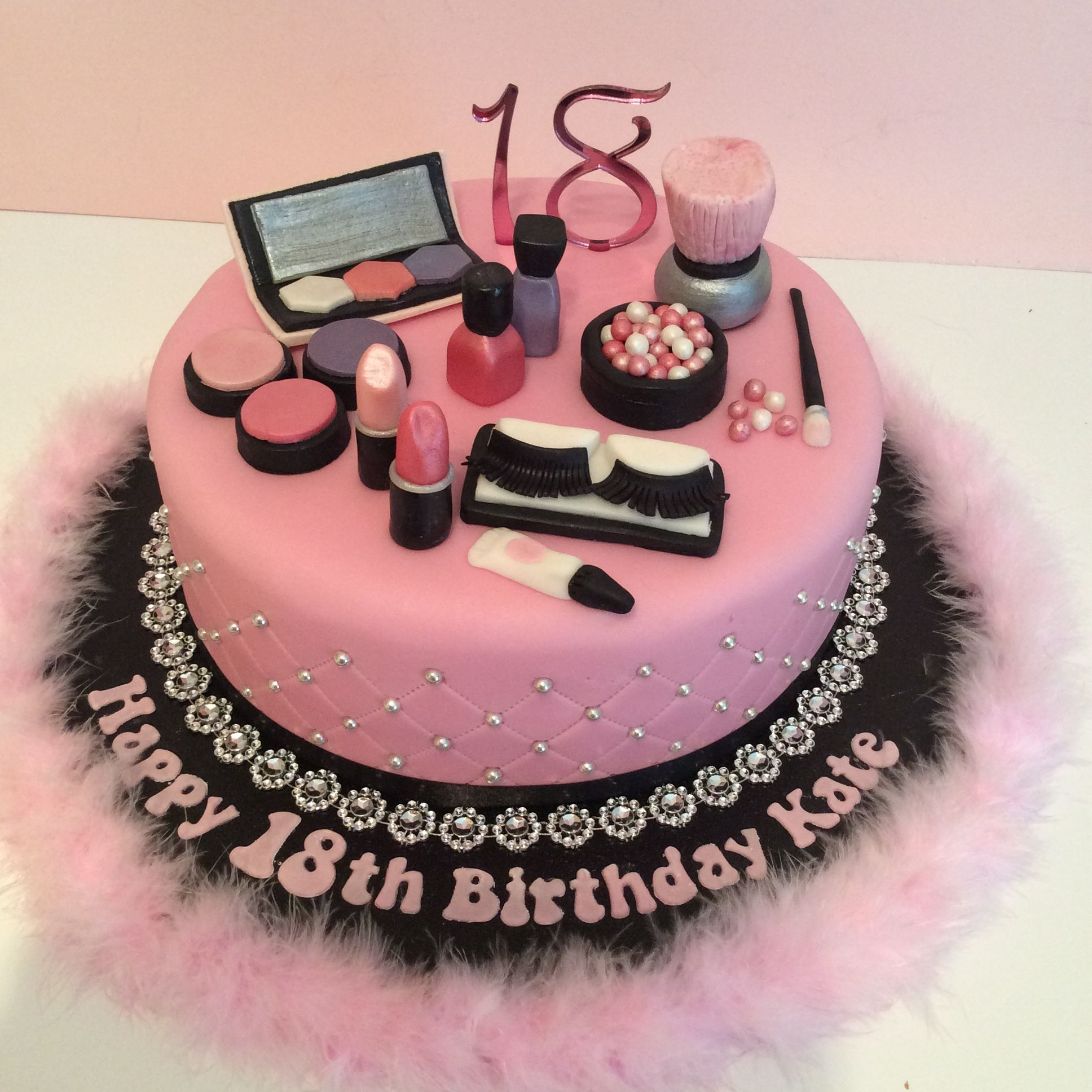 Pink 18th Make Up Theme Birthday Cake