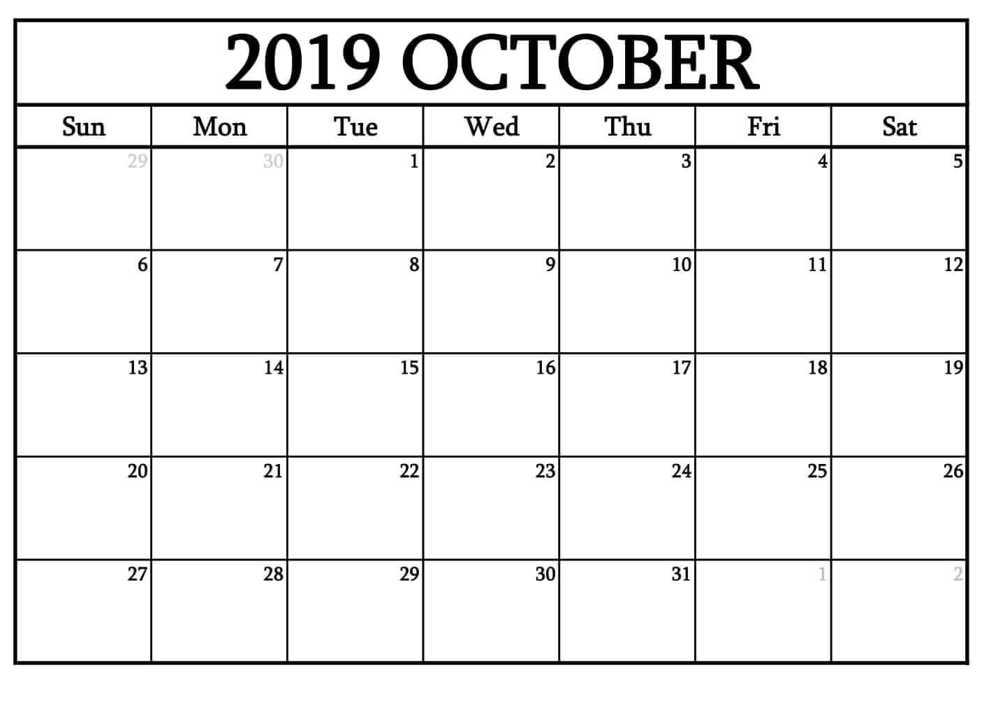 October 2019 Calendar In Pdf Word Excel Printable Template