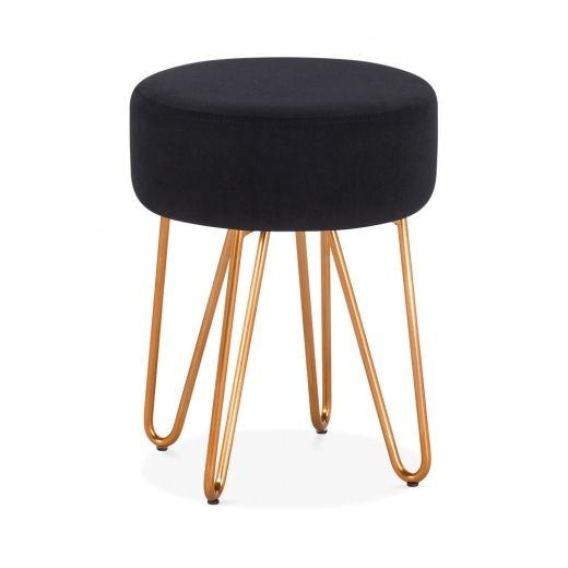 Pleasant Cult Living Alexa Metal Low Stool Black Velvet Upholstered Uwap Interior Chair Design Uwaporg