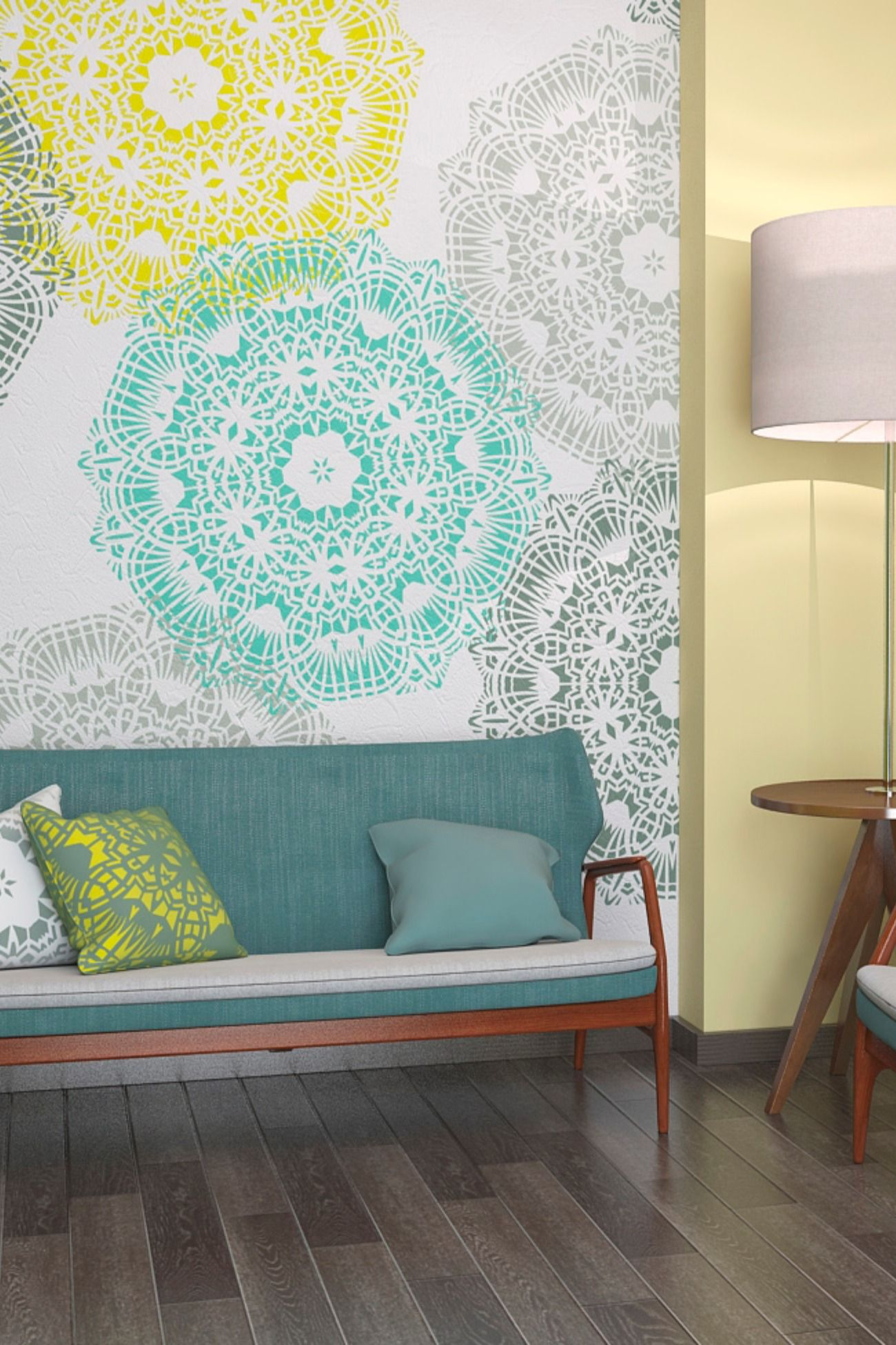 Mandala Style Stencil Unique Geometric Wall Painting Stencil Stencil Painting On Walls Cheap Living Room Furniture Mandala Wall Stencil #wall #painting #stencils #for #living #room