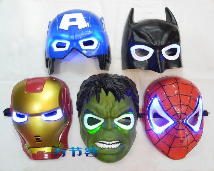 pas cher 5 pcs super hros modle yeux clairs led blue masque captain america hulk batman - Masque Captain America