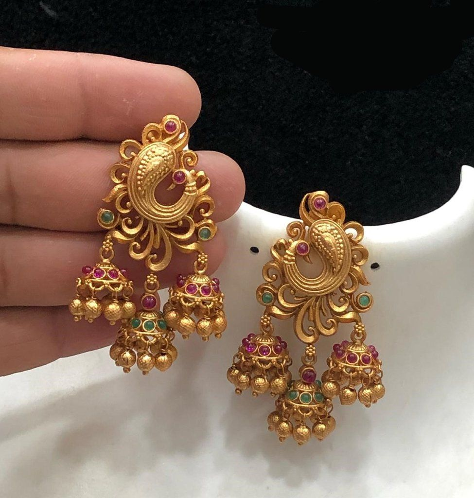 ShoppingHUB Get Closer South Indian Designer Stud 18K Goldplated Earrings Traditional Fashion Jewelry