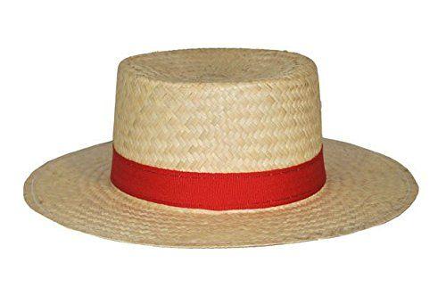 Chapeau de paille gondolier avec ruban rouge: Amazon.fr: Jeux et Jouets