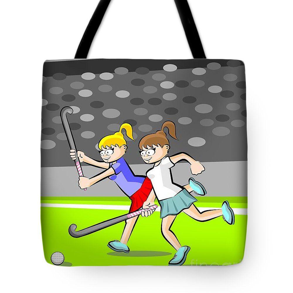 Two Girls Play Field Hockey Funny Illustrations About Field Hockey Hockey Woman Women Female Player Grass Girl Field Girls Play Two Girls Bag Sale