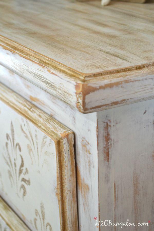 White and Gold Distressed Damask Dresser  Gold Painted FurniturePainting  FurnitureDistressing. White and Gold Distressed Damask Dresser   Stencil dresser  Damask