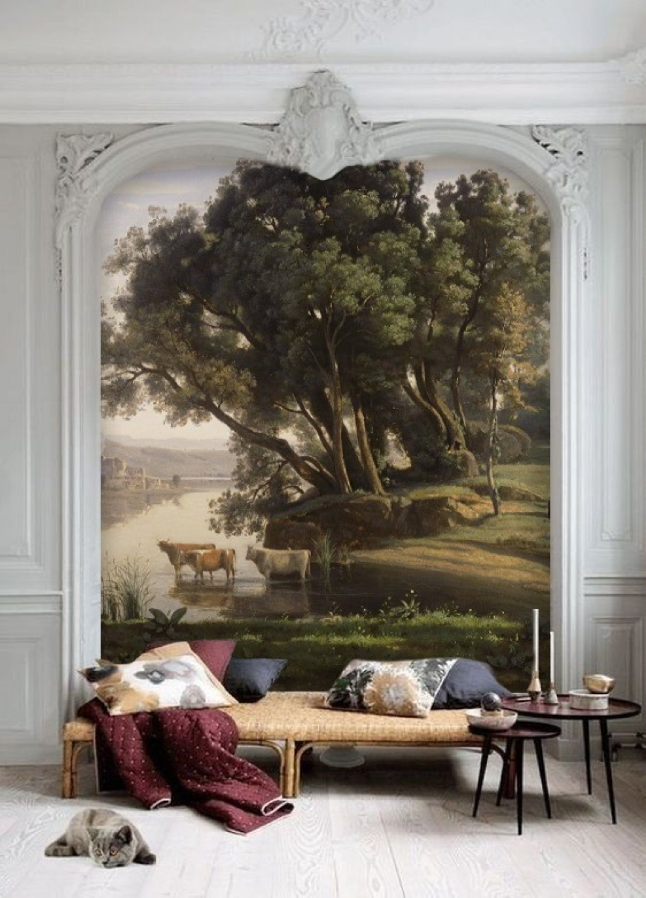 River Landscape Oil Painting Mural Wallpaper Peel And Stick Vintage Still Life Painting Removable Wallpaper Antique Victorian Painting 181 Mural Wallpaper Oil Painting Landscape Mural