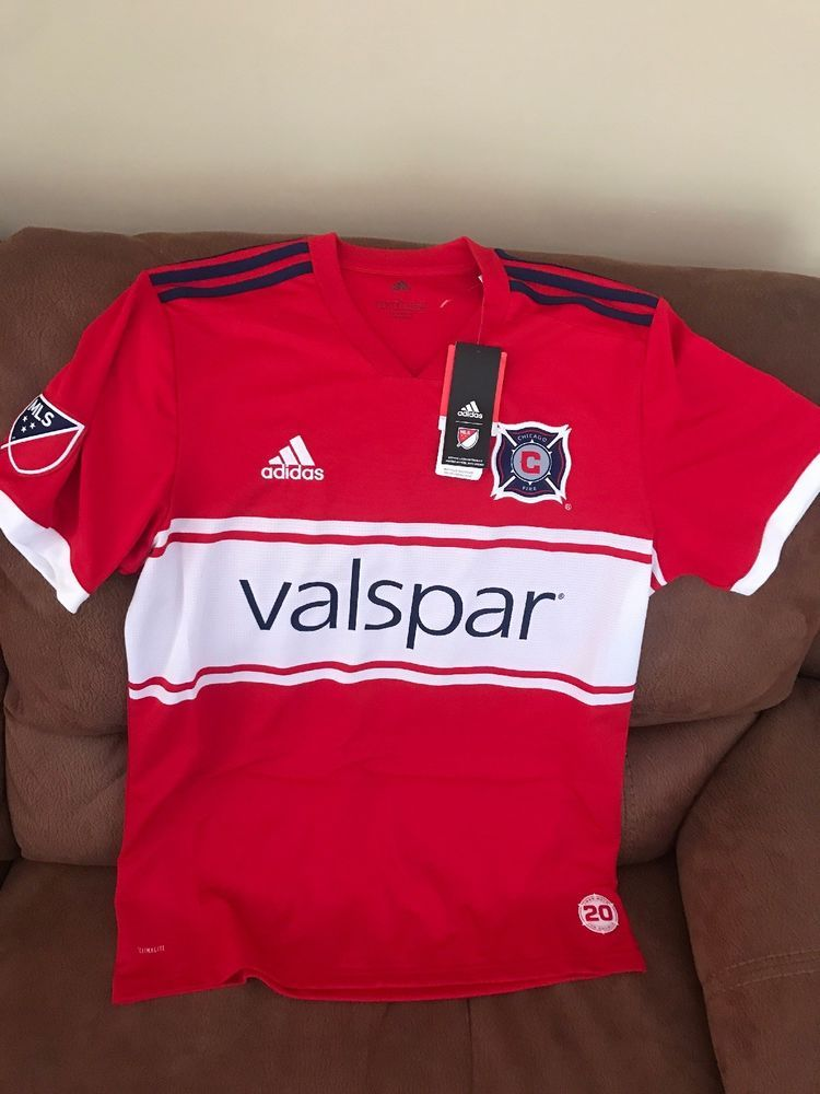 62cd29c0b8dda Adidas Chicago Fire MLS Soccer Jersey 1998/2018 20 The Double NWT Size L  Men | eBay