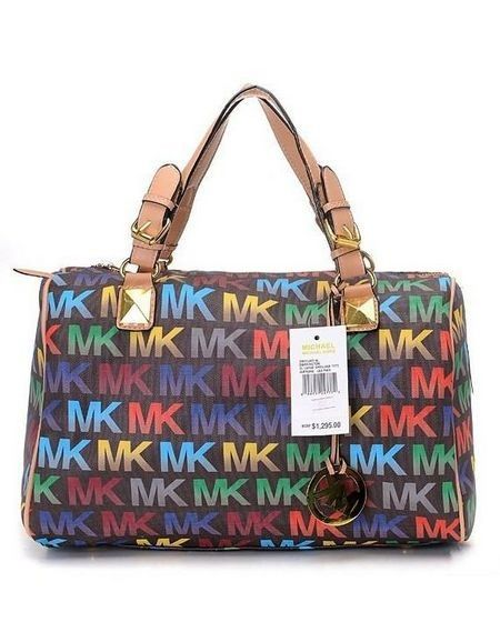 0d09789277fe Michael Kors Grayson Medium MK Logo Monogram Satchels Colourful With Coffee